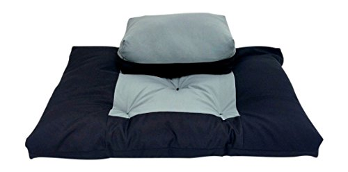 2pc Set - Black/Gray Zabuton Zafu for Yoga and Meditation - Thick and Overfilled Seat Cushion - Exclusively by Blowout Bedding RN# 142035