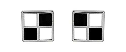 Sterling Silver, Mother of Pearl and Onyx Cufflinks