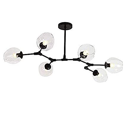 Modern Black Pendant Light Glass Chandelier with 7 Lights Flush Mount Bubble Ball Lampshade Rotating Hanging Lamp Fixture 7 Head Transparent Shade
