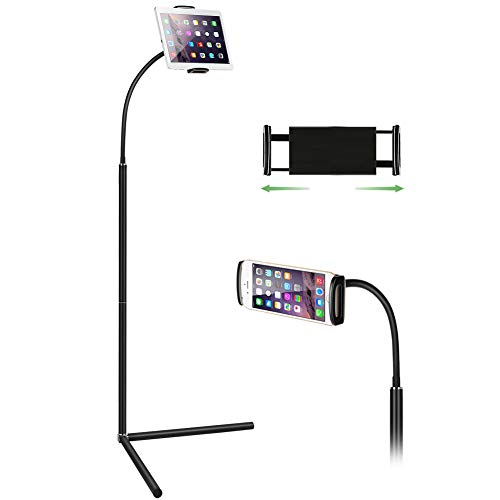 Tablet Floor Stand, Gooseneck Long Arm Cell Phone Holder Mount for 7-13inch Tablet iPad, Including ipad Pro/Mini/Air, Samsung Galaxy Tab,Kindle Black