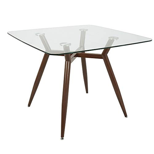 Lumisource Clara Mid-Century Modern Dining Table, Square, Clear/Walnut ()