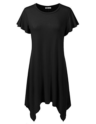 Doublju Womens Short Sleeve Loose Fit Tunic Dress with Asymmetrical Hem (Made in USA)