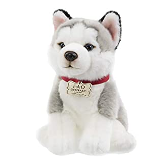 "FAO Schwarz Puppy Floppy Husky Stuffed Animal Toy Plush 10"", Ultra Soft & Snuggly Doll for Creative & Imagination Play, White/Grey, White, Grey"