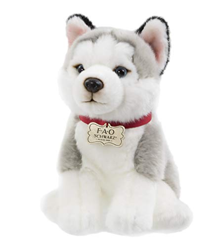 FAO Schwarz Puppy Floppy Husky Stuffed Animal Toy Plush 10
