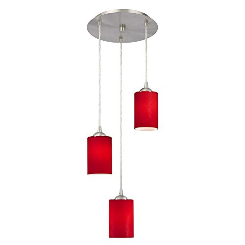 - Modern Multi-Light Pendant Light with Red Glass and 3-Lights
