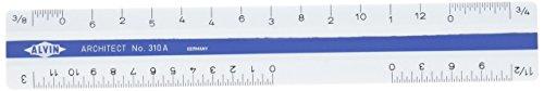 Alvin 310A 310 Series 6 inch White Plastic Flat Pocket Architect Scale ()