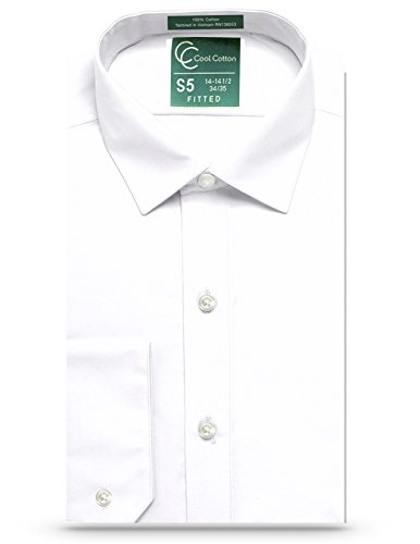 (Cool Cotton Mens Fitted White Tuxedo Or Dress Shirt, 100% Cotton, Fashion Cuff, Spread Collar)