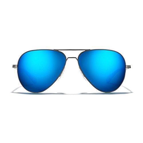 ROKA Phantom Ti Performance Aviator Non-Polarized Sunglasses for Men and Women - Gunmetal Frame - Glacier Mirror Lens Size 59
