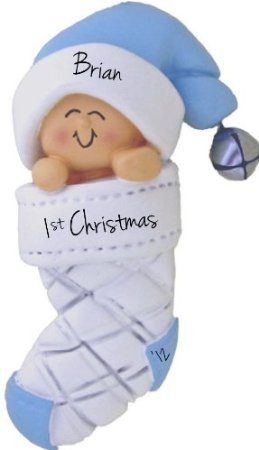 Baby's 1st Christmas, Boy Christmas Ornament - FREE Personalization