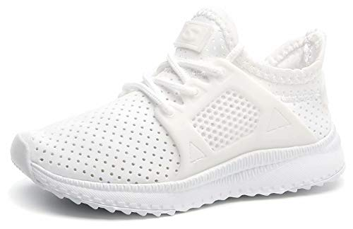 HOBIBEAR Kids Slip on Sneakers Lightweight Breathable Mesh Athletic Running Shoes C-White
