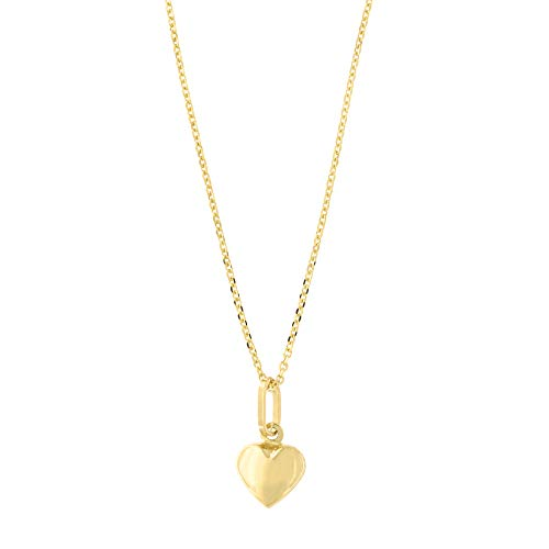 14k Yellow Gold Tiny Puffed Heart Pendant Necklace with Cable Chain, 18