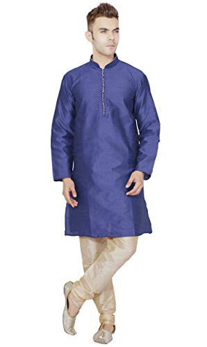 - SKAVIJ Men's Tunic Kurta Pajama Set Party Wear Dress (X-Large, Blue)
