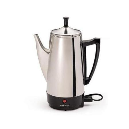 Presto 12-Cup Stainless Steel Coffeemaker, Includes filter basket and perk tube