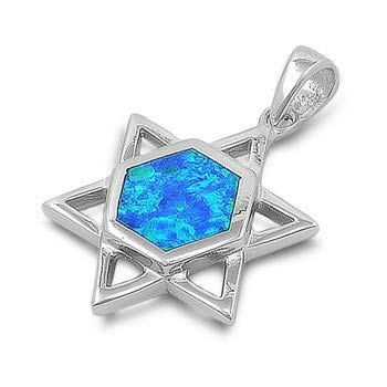 Star of David Blue Glitzs Jewels 925 Sterling Silver Created Opal Pendant for Necklace in Gift Box