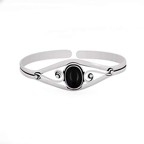- 13.50gms, 6.00ct Genuine Black Onyx .925 Silver Overlay Handmade Fashion Cuff Bangle Jewelry