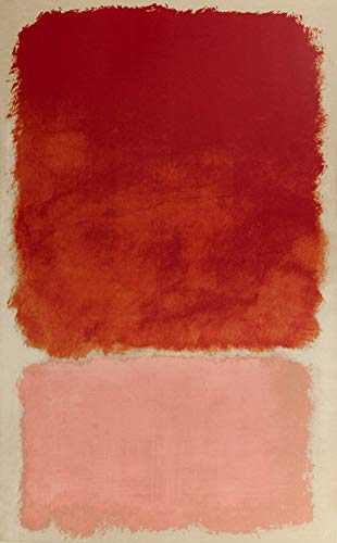 Handpainted Reproduction Mark Rothko 55X90 cm (Approx. 22X36 inch) - Untitled (Red Over Pink) 1968 Abstract Paintings Canvas Wall Art Poster Rolled
