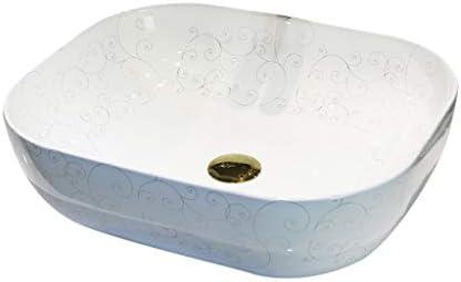 WJ 洗面台 バスルームの洗面台、(タップ無し)セラミック楕円カウンタ上流域浴室技術流域単一流域、50X40X14cm /-/ (Size : 50X40X14cm)
