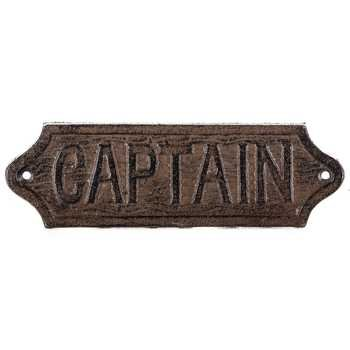 [Aunt Chris' Products - Heavy Cast Iron - Captain Plaque (Sign) - Coastal Décor Look - With Two Holes Hanging - Rustic Brown Primitive Design With Raised Letters - Nautical - Use Indoor Or] (Melody Costume)