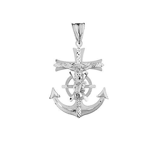 Exquisite Sterling SIlver Sparkle Cut Nautical Crucifix Cross Anchor Pendant ()