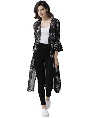 Wisstler Women\'s Black Georgette Floral Print Long Shrug