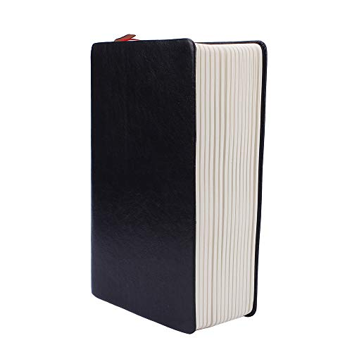 Weite Large Size Classic Vintage Black Soft Faux Leather Cover,240 Sheets 480 Pages White Edge Blank Paper Notebook Memo Journal Notepad Diaries Drawing Sketchbook (White)