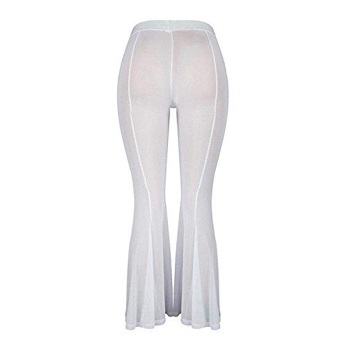 Tempo Filato Moda Eleganti Glamorous Larghi Libero Pantalone Pantaloni Donna Monocromo Netto Colpo Haidean High Casual Bianca Prospettiva Waist Semplice HzC6x4