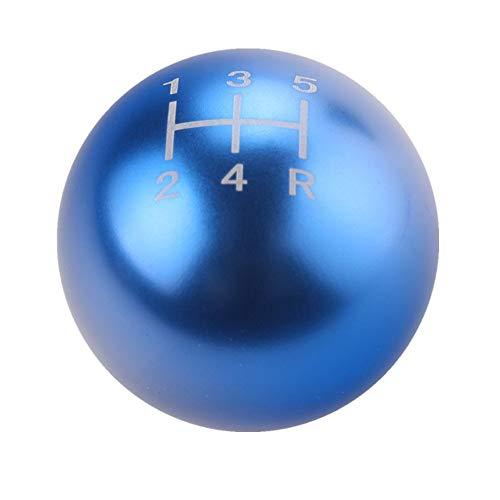 (DEWHEL Round Ball Billet M12x1.25 5 Speed Short Throw Shifter Shift Knob MT Manual Gearbox Screw On Blue)