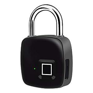 HHWENJ Lucchetto Impermeabile per Impronte Digitali, Smart Bluetooth Security Phone (iOS/Android) Blocco App, Lucchetto Esterno, Serratura per Bagagli
