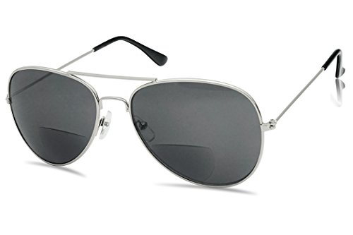 SunlgassUP Classic 80's Full Metal Aviator Style Bifocal Sunglasses Assorted Power Strength (Gun Metal Frame | Smoke, - Super Uk Sunglasses