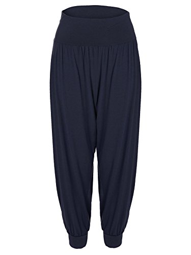 New Harem Long Full Loose Leggings À Blue Navy Taille Élastique Pantalon Femmes AdgnqwWT5g