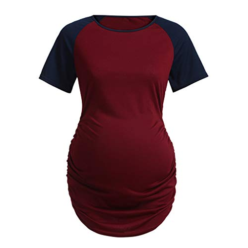 Sunyastor Women's Crew Neck T Shirt Classic Casual Side Ruched Pregnancy Short Sleeve Maternity T-Shirt Tops Blouses ()