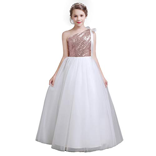 fairy Girl Long Junior Bridesmaid Dresses Sequin Flower Girl Dresses Tulle for Wedding Party Prom Maxi Dress Dance Gown Rose Gold ()