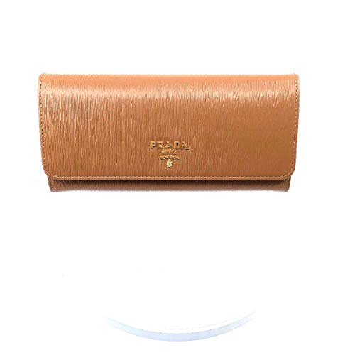 Prada Women's Caramel Beige Vitello Move Long Leather Flap Continental Wallet 1MH132 ()