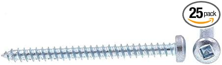 Zinc Plated Steel Pan Head 25-Pack Self-Tapping Prime-Line 9163967 Sheet Metal Screws #8 X 2 in Square Drive