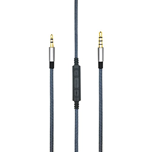 Replacement cable with Remote volume control & Mic for Sennheiser Urbanite / Sennheiser Urbanite XL Wireless On-Ear Over-Ear Headphone compatible Samsung Galaxy Sony Xiaomi Huawei Android phone