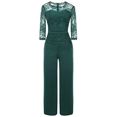 Ladies' Sexy Jumpsuit, JOYFEEL Women Seven-Quarter Lace Casual Playsuit Party and Evening Loose Cocktail Bodysuit Green