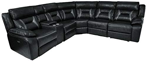 Faux Leather Reclining Sectional - Homelegance Amite 6-Piece Power Reclining Sectional with Console and USB Port, 106