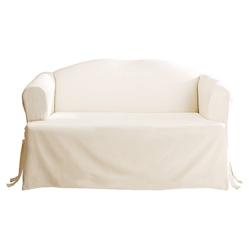 SureFit Duck Solid T-Cushion - Loveseat Slipcover - Natural