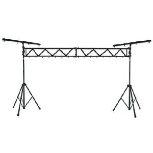Mr. Dj LS-500 Mobile Portable Dj Band 10 Feet Trussing System with Dual Tripod Stand and T-Bar for Stage Lighting