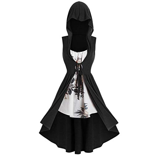 Women's Gothic Punk Dress Cloak,Girl's Plus Size Sleeveless Hooded Robe Renaissance Costumes Floral Tunic Tops Lace Up (Black, XL)]()