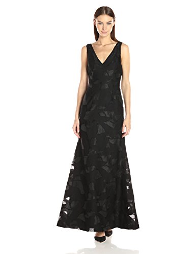 (Vera Wang Women's Burnout Organza Gown with Mesh, Black, 6)