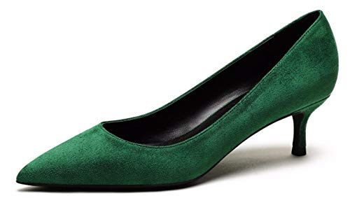 CAMSSOO Women's Low Heel D'Orsay Slip On Pointed Toe Dress Pumps Shoes Green Velvet Size US9.5 EU43