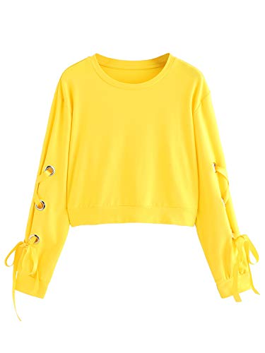 SweatyRocks Women's Casual Lace Up Long Sleeve Pullover Crop Top Sweatshirt (Small, 1-Yellow)