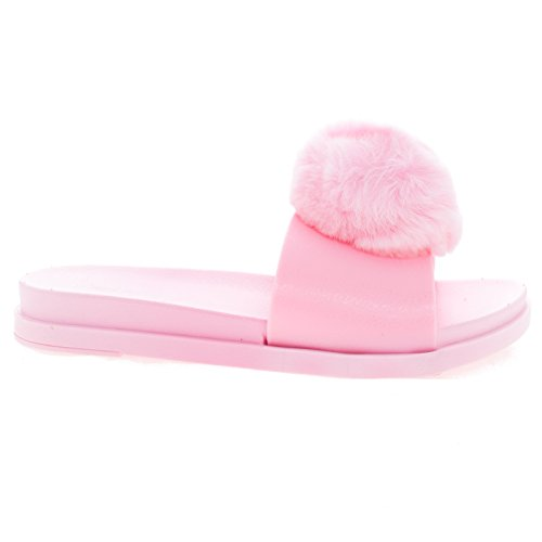 Furry01S PinkJly Slide On Jelly Flatform Sandal w Faux Fur Pompom -7 (Flatform Jelly Sandals compare prices)