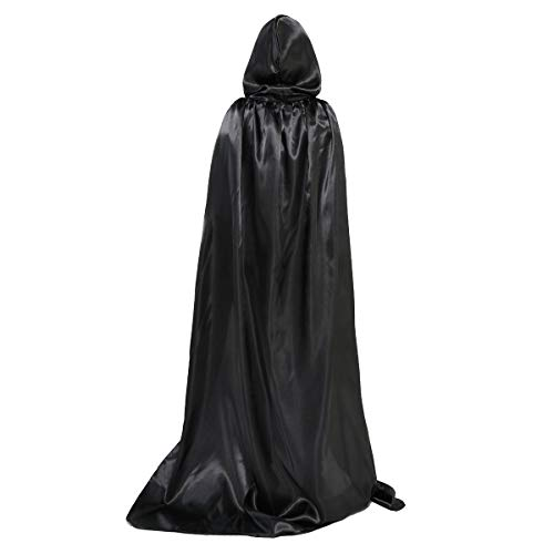 (OLABB Hooded Cape Cloak with Hood Black Cloaks Costume Cosplay Party Role Play for)