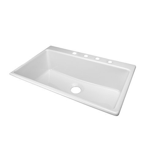 Deluxe 33'' x 22'' Designer Linear Kitchen Sink Finish: White, Faucet Drillings: 4 Hole by Lyons Industries