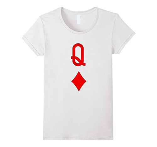 Costume Diamond Halloween (Womens Playing Cards Costume, Halloween Queen of Diamonds Tee Shirt Medium)