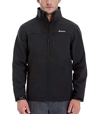 Clothin Men's Softshell Jacket Windproof Front-Zip Fleece-Lined Ski Insulated Coat(Black S)