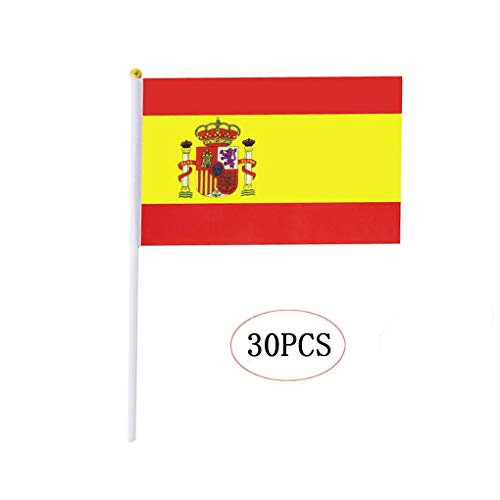 Spain Stick Flag,Spanish Hand Held Mini Small Flags On Stick International Country World Stick Flags for Party Classroom Garden Olympics Festival Clubs Parades Parties Desk Decorations(30 Pack)]()