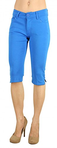 Colored Shorts Slim Soft Stretch Bermuda - Sexy, Cute Multiple Colors - Shade Turqouise - Waist M